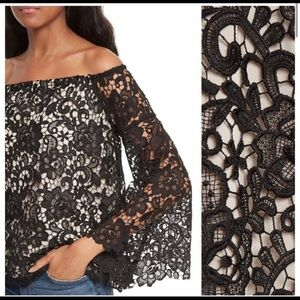 Alice + Olivia Prena Off the Shoulder Lace Blouse